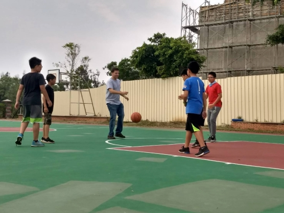 Playing basketball in Kinmen
